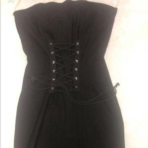 Dresses & Skirts - Black front tie dress with front side split
